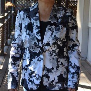 Convington Size L Floral Black White Cotton Jacket
